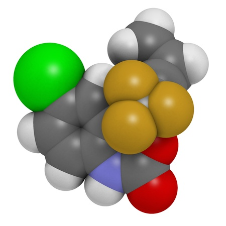 Efavirenz HIV drug, chemical structure. Atoms are represented as spheres with conventional color coding: hydrogen (white), carbon (grey), nitrogen (blue), oxygen (red), chlorine (green), fluorine (gold). Stock Photo - 21663209