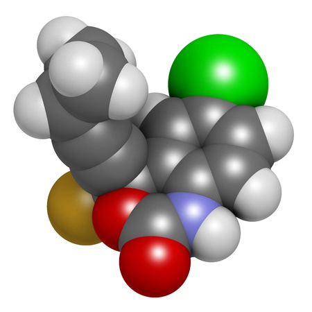 nucleoside: Efavirenz HIV drug, chemical structure. Atoms are represented as spheres with conventional color coding: hydrogen (white), carbon (grey), nitrogen (blue), oxygen (red), chlorine (green), fluorine (gold).