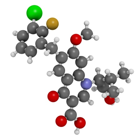 quinine: Elvitegravir HIV treatment drug (integrase inhibitor), chemical structure. Atoms are represented as spheres with conventional color coding: hydrogen (white), carbon (grey), nitrogen (blue), oxygen (red), chlorine (green), fluorine (gold).
