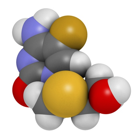 nucleoside: Emtricitabine HIV treatment drug, chemical structure. Atoms are represented as spheres with conventional color coding: hydrogen (white), carbon (grey), nitrogen (blue), oxygen (red), sulfur (yellow), fluorine (gold). Stock Photo
