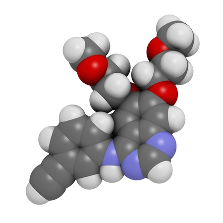 pancreatic cancer: Erlotinib cancer drug, chemical structure. Atoms are represented as spheres with conventional color coding: hydrogen (white), carbon (grey), nitrogen (blue), oxygen (red). Stock Photo