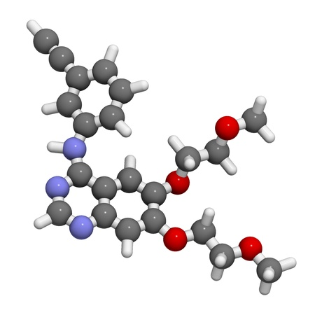 kinase: Erlotinib cancer drug, chemical structure. Atoms are represented as spheres with conventional color coding: hydrogen (white), carbon (grey), nitrogen (blue), oxygen (red). Stock Photo