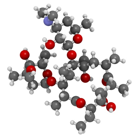 Erythromycin antibiotic drug (macrolide class), chemical structure Atoms are represented as spheres with conventional color coding: hydrogen (white), carbon (grey), nitrogen (blue), oxygen (red). 版權商用圖片