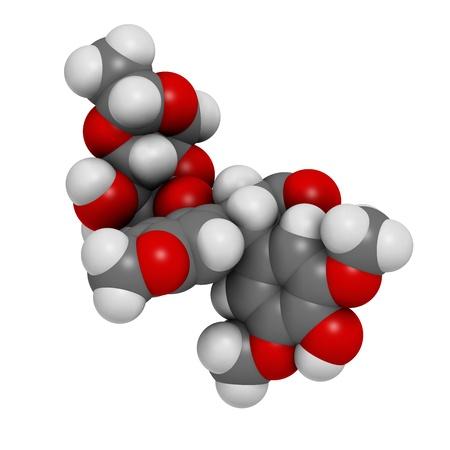 apoptosis: Etop�sido c�ncer de medicamento de quimioterapia, la estructura qu�mica. Los �tomos se representan como esferas con c�digo de colores convencionales: hidr�geno (blanco), el carb�n (gris), ox�geno (roja). Foto de archivo