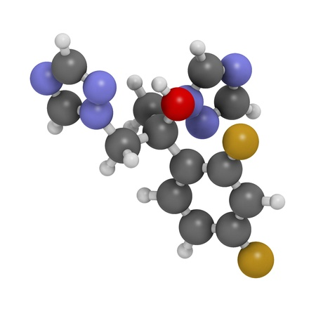 hydrogen: Fluconazole antifungal drug (triazole class), chemical structure. Atoms are represented as spheres with conventional color coding: hydrogen (white), carbon (grey), nitrogen (blue), oxygen (red), fluorine (fluorine). Stock Photo