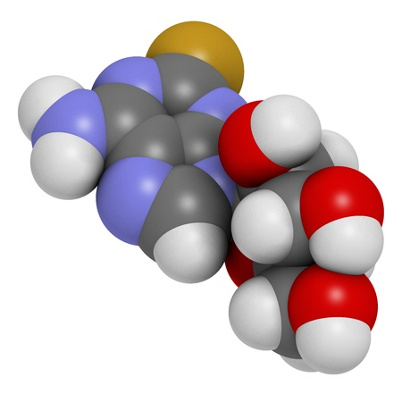 phosphorus: Fludarabine blood cancer drug, chemical structure. Atoms are represented as spheres with conventional color coding: hydrogen (white), carbon (grey), nitrogen (blue), oxygen (red), phosphorus (orange), fluorine (gold). Stock Photo