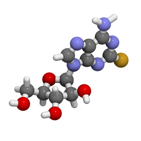 purine: Fludarabine blood cancer drug, chemical structure. Atoms are represented as spheres with conventional color coding: hydrogen (white), carbon (grey), nitrogen (blue), oxygen (red), phosphorus (orange), fluorine (gold). Stock Photo