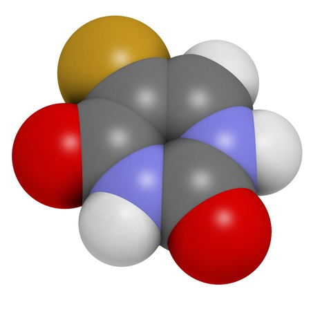 pancreatic cancer: Fluorouracil (5-FU, FU) cancer chemotherapy drug, chemical structure. Atoms are represented as spheres with conventional color coding: hydrogen (white), carbon (grey), nitrogen (blue), oxygen (red),  fluorine (gold). Stock Photo