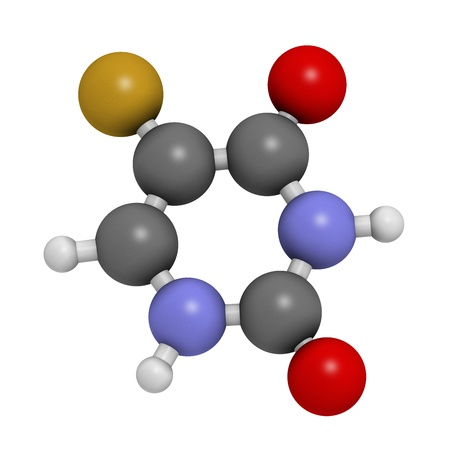 Fluorouracil (5-FU, FU) cancer chemotherapy drug, chemical structure. Atoms are represented as spheres with conventional color coding: hydrogen (white), carbon (grey), nitrogen (blue), oxygen (red),  fluorine (gold). Stock Photo - 21663243