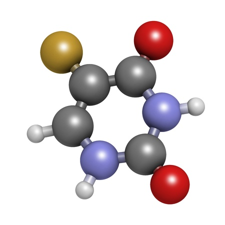 Fluorouracil (5-FU, FU) cancer chemotherapy drug, chemical structure. Atoms are represented as spheres with conventional color coding: hydrogen (white), carbon (grey), nitrogen (blue), oxygen (red),  fluorine (gold). Stock Photo - 21663244