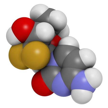 nucleoside: Gemcitabine cancer chemotherapy drug, chemical structure. Atoms are represented as spheres with conventional color coding: hydrogen (white), carbon (grey), nitrogen (blue), oxygen (red),  fluorine (gold).