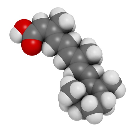 Isotretinoin acne treatment drug, chemical structure. Known to be a teratogen (causes birth defects). Atoms are represented as spheres with conventional color coding: hydrogen (white), carbon (grey), oxygen (red). Stock Photo - 21662846