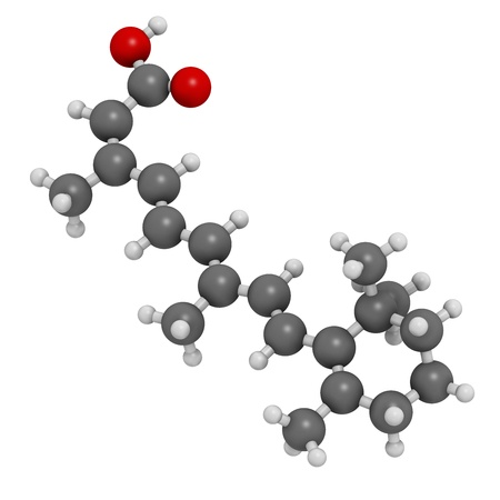 teratogenic: Isotretinoin acne treatment drug, chemical structure. Known to be a teratogen (causes birth defects). Atoms are represented as spheres with conventional color coding: hydrogen (white), carbon (grey), oxygen (red). Stock Photo