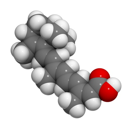 Isotretinoin acne treatment drug, chemical structure. Known to be a teratogen (causes birth defects). Atoms are represented as spheres with conventional color coding: hydrogen (white), carbon (grey), oxygen (red). Stock Photo - 21662848