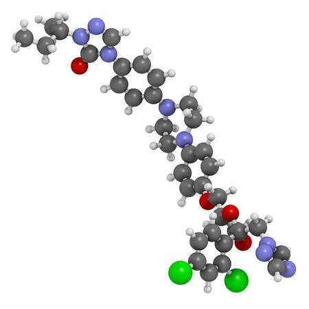살균제: 이트라코나졸 항진균제 (트리아 클래스), 화학 구조. 수소 (흰색), 탄소 (회색), 질소 (파란색), 산소 (적색), 염소 (녹색) : 원자는 기존의 컬러 코딩 분야로 표시됩니다. 스톡 사진