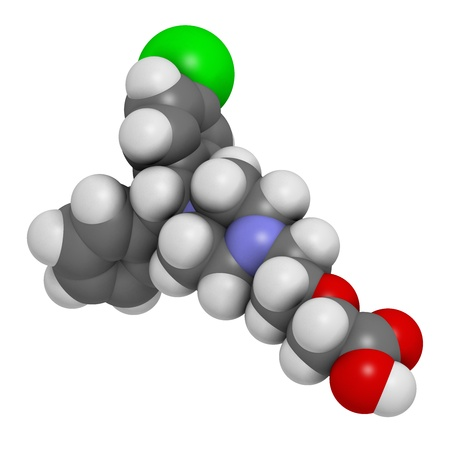 antihistamine: Cetirizine (levocetirizine) antihistamine drug, chemical structure. Used to treat hay fever, urticaria and allergies. Atoms are represented as spheres with conventional color coding: hydrogen (white), carbon (grey), nitrogen (blue), oxygen (red), chlorine
