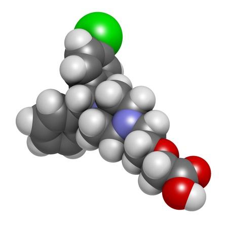 La cetirizina (levocetirizina) antihistamínico, la estructura química. Se utiliza para tratar la fiebre del heno, urticaria y alergias. Los átomos se representan como esferas con código de colores convencionales: hidrógeno (blanco), el oxígeno de carbono (gris), nitrógeno (azul), (rojo), cloro Foto de archivo - 21662857