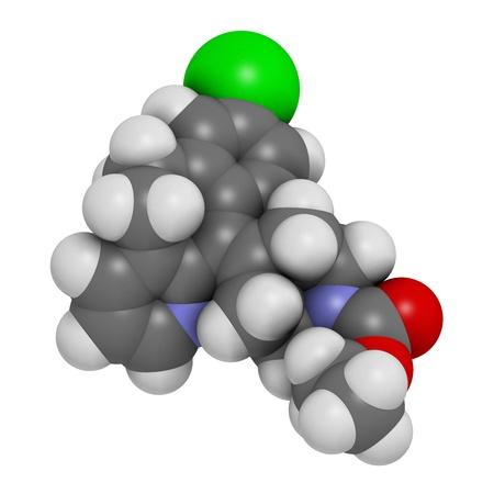pokrzywka: Loratadyna przeciwhistaminowy, struktury chemicznej. Stosowany w leczeniu katar sienny, pokrzywka i alergie. Atomy są reprezentowane sfer z konwencjonalnego kodowania kolorów: wodór (biały), węgiel (szary), azotu (niebieski), tlen (czerwony), chlor (zielony).
