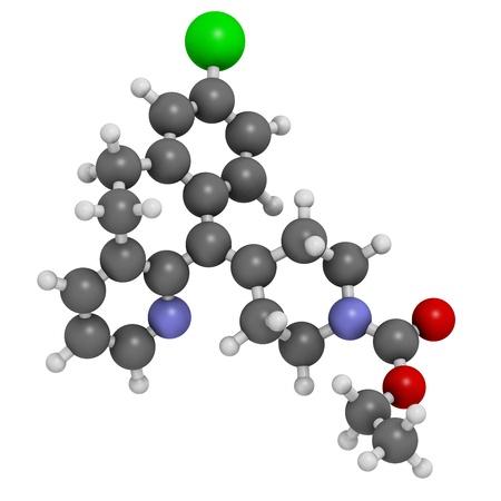 pokrzywka: Leki przeciwhistaminowe loratadyna, struktura chemiczna. Stosowany w leczeniu gorączki, siano pokrzywkę i alergie. Atomy są reprezentowane jako kule z konwencjonalnymi kodowania kolorów: wodór (biały), węgla (szary), azotu (niebieski), tlen (czerwony), chlorem (zielony).