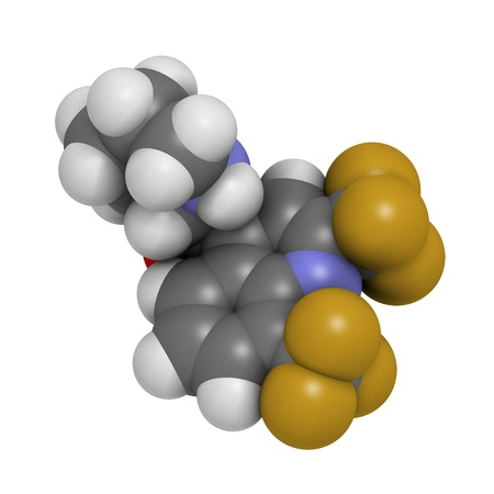 plasmodium: Mefloquine malaria drug, chemical structure. Atoms are represented as spheres with conventional color coding: hydrogen (white), carbon (grey), nitrogen (blue), oxygen (red), fluorine (gold).
