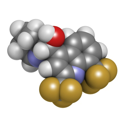 quinine: Mefloquine malaria drug, chemical structure. Atoms are represented as spheres with conventional color coding: hydrogen (white), carbon (grey), nitrogen (blue), oxygen (red), fluorine (gold).
