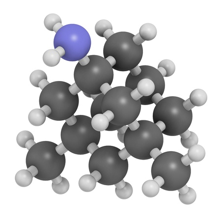 Memantine Alzheimers disease drug, chemical structure. Atoms are represented as spheres with conventional color coding: hydrogen (white), carbon (grey), nitrogen (blue).