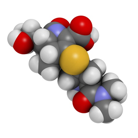 injectable: Meropenem broad-spectrum antibiotic (carbapenem class), chemical structure Atoms are represented as spheres with conventional color coding: hydrogen (white), carbon (grey), nitrogen (blue), oxygen (red), sulfur (yellow) Stock Photo