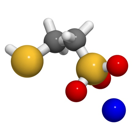 adjuvant: Mesna cancer chemotherapy adjuvant and mucolytic drug, chemical structure. Atoms are represented as spheres with conventional color coding: hydrogen (white), carbon (grey), oxygen (red), sulfur (yellow), sodium (blue).