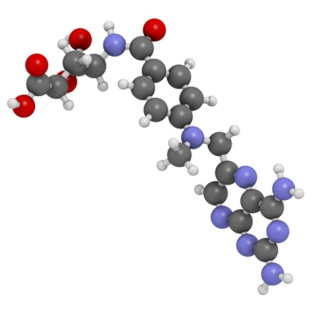 teratogenic: Methotrexate cancer chemotherapy and immunosuppressive drug, chemical structure. Atoms are represented as spheres with conventional color coding: hydrogen (white), carbon (grey), nitrogen (blue), oxygen (red).