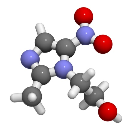 ameba: Metronidazole antibiotic drug (nitroimidazole class), chemical structure. Atoms are represented as spheres with conventional color coding: hydrogen (white), carbon (grey), nitrogen (blue), oxygen (red).