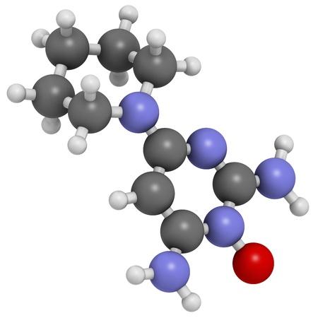 calvitie: Minoxidil calvitie (alop�cie androg�nique) M�dicament mod�le, la structure chimique. Les atomes sont repr�sent�s par des sph�res avec codage couleur conventionnels: l'hydrog�ne (blanc), le carbone (gris), l'azote (bleu), d'oxyg�ne (rouge). Banque d'images