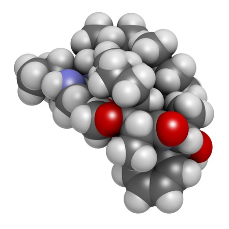 payload: Monomethyl auristatin E (MMAE, vedotin), the cytotoxic payload of brentuximab vedotin antibody-drug conjugate. Atoms are represented as spheres with conventional color coding: hydrogen (white), carbon (grey), nitrogen (blue), oxygen (red).