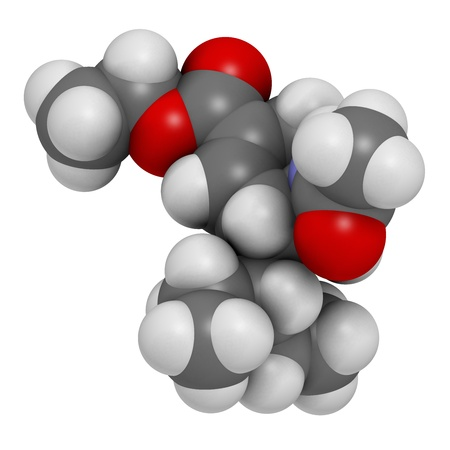 neuraminidase: Oseltamivir influenza virus drug, chemical structure. Atoms are represented as spheres with conventional color coding: hydrogen (white), carbon (grey), nitrogen (blue), oxygen (red).