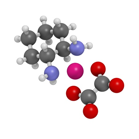chemotherapeutic: Oxaliplatin cancer chemotherapy drug, chemical structure. Atoms are represented as spheres with conventional color coding: hydrogen (white), carbon (grey), nitrogen (blue), oxygen (red), platinum (magenta). Stock Photo