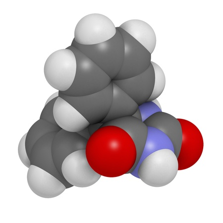 anticonvulsant: Phenytoin epilepsy drug, chemical structure. Atoms are represented as spheres with conventional color coding: hydrogen (white), carbon (grey), nitrogen (blue), oxygen (red).