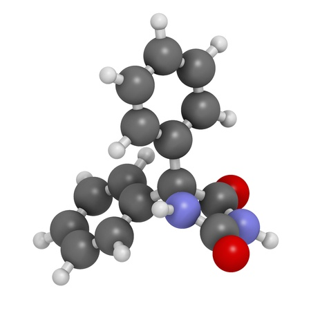 seizures: Phenytoin epilepsy drug, chemical structure. Atoms are represented as spheres with conventional color coding: hydrogen (white), carbon (grey), nitrogen (blue), oxygen (red).