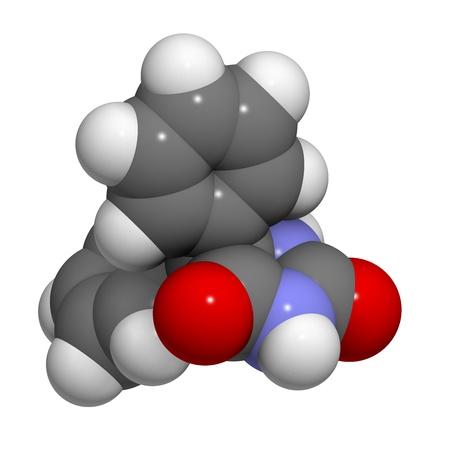 convulsion: Fenito�na epilepsia farmacorresistente, la estructura qu�mica. Los �tomos se representan como esferas con c�digo de colores convencionales: hidr�geno (blanco), el carb�n (gris), nitr�geno (azul), el ox�geno (roja). Foto de archivo