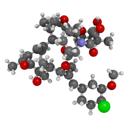 erythematosus: pimecrolimus eczema (atopic dermatitis) drug, chemical structure. Atoms are represented as spheres with conventional color coding: hydrogen (white), carbon (grey), nitrogen (blue), oxygen (red), chlorine (green)