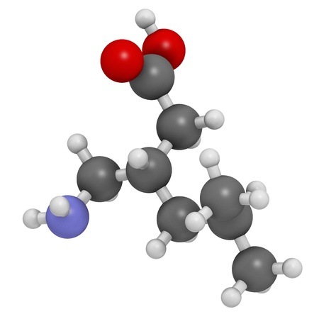 neuralgia: Pregabalin epilepsy and fibromyalgia drug, chemical structure. Atoms are represented as spheres with conventional color coding: hydrogen (white), carbon (grey), nitrogen (blue), oxygen (red).