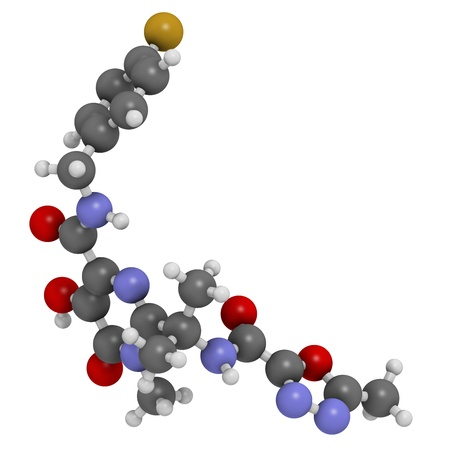 inhibitor: Raltegravir HIV drug (integrase inhibitor class), chemical structure. Atoms are represented as spheres with conventional color coding: hydrogen (white), carbon (grey), nitrogen (blue), oxygen (red), fluorine (gold).