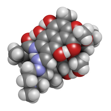 polymerase: rifampicin (rifampin, rifamycin class) tuberculosis antibiotic, chemical structure. Atoms are represented as spheres with conventional color coding: hydrogen (white), carbon (grey), nitrogen (blue), oxygen (red). Stock Photo