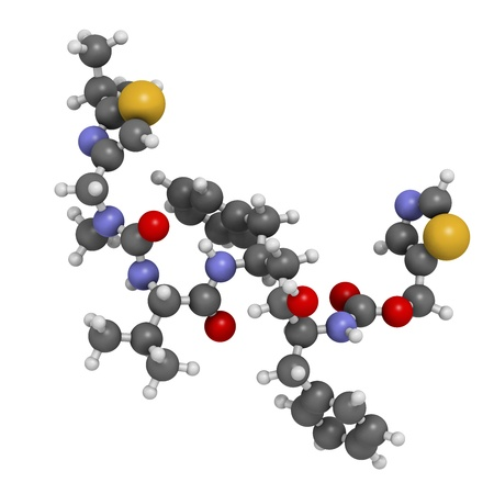 protease: Ritonavir medicamentos para el VIH (clase de inhibidores de la proteasa), la estructura qu�mica. Los �tomos se representan como esferas con c�digo de colores convencionales: hidr�geno (blanco), el carb�n (gris), nitr�geno (azul), el ox�geno (roja), azufre (amarillo).