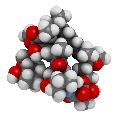 restenosis: Rapamycin (sirolimus) immunosuppressive drug, chemical structure. Used to prevent transplant rejection and in coronary stent coating. Atoms are represented as spheres with conventional color coding: hydrogen (white), carbon (grey), nitrogen (blue), oxygen