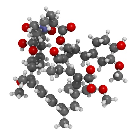Rapamycin (sirolimus) immunosuppressive drug, chemical structure. Used to prevent transplant rejection and in coronary stent coating. Atoms are represented as spheres with conventional color coding: hydrogen (white), carbon (grey), nitrogen (blue), oxygen Stock Photo - 21662766
