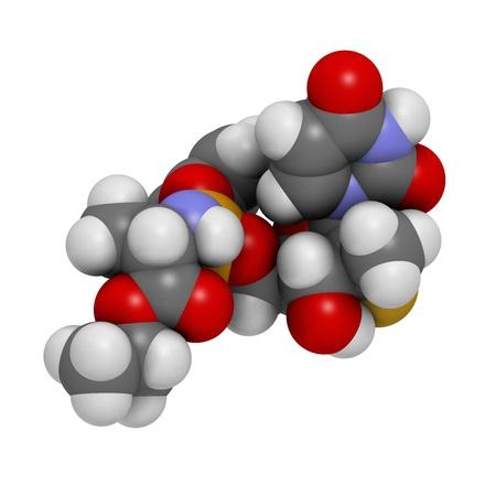 phosphorus: Sofosbuvir experimental (2013) hepatitis C virus drug, chemical structure. Atoms are represented as spheres with conventional color coding: hydrogen (white), carbon (grey), nitrogen (blue), oxygen (red), phosphorus (orange), fluorine (gold).