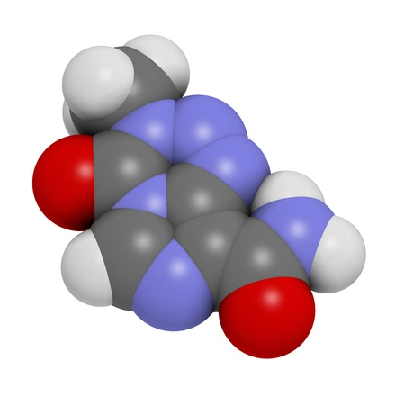 teratogenic: Temzolomide cancer chemotherapy drug, chemical structure. Atoms are represented as spheres with conventional color coding: hydrogen (white), carbon (grey), nitrogen (blue), oxygen (red).