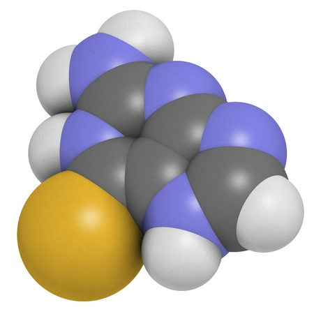 Tioguanine leukemia and ulcerative colitis drug, chemical structure. Atoms are represented as spheres with conventional color coding: hydrogen (white), carbon (grey), sulfur (yellow). Stock Photo - 21662740