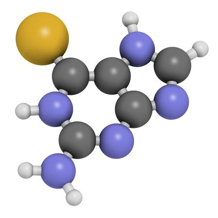 colitis: Tioguanine leukemia and ulcerative colitis drug, chemical structure. Atoms are represented as spheres with conventional color coding: hydrogen (white), carbon (grey), sulfur (yellow). Stock Photo