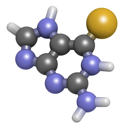 Tioguanine leukemia and ulcerative colitis drug, chemical structure. Atoms are represented as spheres with conventional color coding: hydrogen (white), carbon (grey), sulfur (yellow). Stock Photo - 21662742