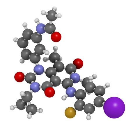 iodine: Trametinib melanoma cancer drug, chemical structure. Atoms are represented as spheres with conventional color coding: hydrogen (white), carbon (grey), nitrogen (blue), oxygen (red), iodine (purple), fluorine (gold).